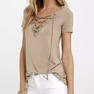 Tops - Nude Lace Up Tee